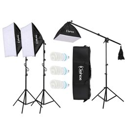 difusor de luz softbox Rebajas KSHIOE 65W Photo Studio Fotografía Soft Box Lights Kit de iluminación continua Difusor 3X 65w Bombillas 24''x 24 '' Softbox 86 '' Soporte de luz Carrin