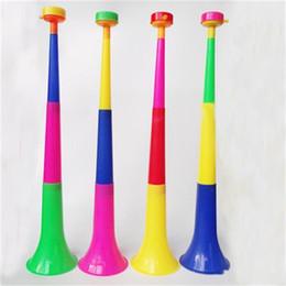 weltcup-dekorationen Rabatt Teleskop Kunststoff Cheer Horn 2018 World Cup dreiteilige Trompete Noise Maker Gratulation Vuvuzela Factory Direct Sale 2 45hy