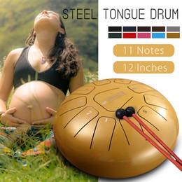 12 Polegada Tambor de Mão 11-tom teel Tongue Percussão Tambor Instrumento de Mão com Baquetas de Tambor Baqueta e Saco de