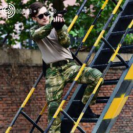пейнтбольные локтевые колодки Скидка Tactical Suit   Uniform Hunting Clothes for Men Combat Camouflage Suit Paintball Tactical Sets Elbow Knee Pads