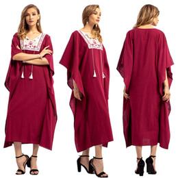 2019 dubai islamic robe Moda Islámica Mujeres Batwing Manga Claret Bordado Abaya Contraste de Color Dubai Malay Jilbab Musulmán Ramadán Thobe Robe dubai islamic robe baratos