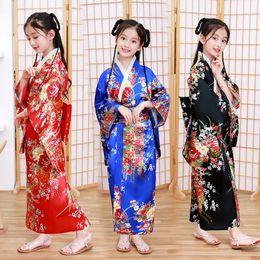 trajes tradicionales japoneses Rebajas Shanghai Story Niños Pavo real Ropa Yukata Chica Kimono japonés Vestido Niños Yukata Haori Traje Japones tradicional Kimono Niño