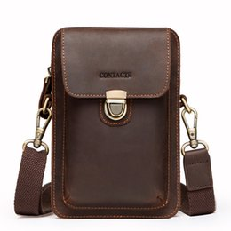 Paquete de la cintura de los hombres de calidad superior de cuero genuino de la vendimia bolsa de teléfono celular de viaje con cremallera titular de la tarjeta de bolsillo para el bolso de hombro masculino desde fabricantes