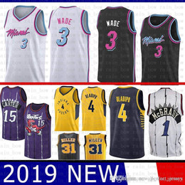 14e32340ae8 Vince 15 Carter Dwyane 3 Wade Miami Jersey Heat 2019 SUP Tracy 1 McGrady Indiana  Victor 4 Oladipo Pacers Reggie 31 Miller Jerseys