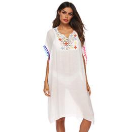 Vestido de crochet solto on-line-Cross-Border Mulheres Loose Crochet Painel Rendas Franjas Praia Cover-up Vestido