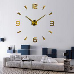 Reloj de pared decorativo grande online-37 pulgadas Nuevo Reloj de Pared Reloj de Cuarzo Pared Diseño Moderno Grandes Relojes Decorativos Europa Acrílico Pegatinas Sala de estar Klok
