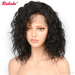 front laced short wig Coupons - Brazilian Virgin Remy Natural Wave Lace Front Wigs Rabake 4x4 Silk Top Short Bob Human Pixie Lace Front Hair Wigs Natural Hairline Wholesale