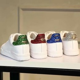 bling scarpe piatte bianche Sconti Sneakers Chiara Ferragni Bling verde rosso blu posteriore bianco Sneakers Scarpe Flats Donna Lace up Sneakers Sneakers in vera pelle da donna