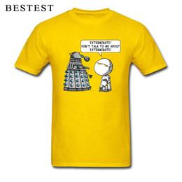 2xl robot Desconto Marvin Meets Dalek T-shirt Dos Homens Doctor Who Camiseta Exterminar Robô Pessimista Tshirt Hipster Verão Amarelo Tops Engraçado Tees