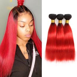 2019 armadura de ombre vermelho Costureira Preto para Hot Red T1B / Vermelho Quente Ombre Cabelo Liso Malaio 3 Pacotes de Dois Tons de Cor Do Cabelo Humano Weave armadura de ombre vermelho barato
