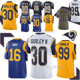2019 jersey de gurley top 30 camisetas de Todd Gurley Los Angeles Rams 16 Jared Goff 99 Aaron Donald Compras gratis 2019 New Jersey Men rebajas jersey de gurley