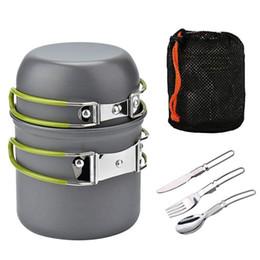 Juego de ollas de camping portátiles individuales al aire libre 2 colores plegables Camping utensilios de cocina cuchillo tenedor cuchara kit 2019 desde fabricantes