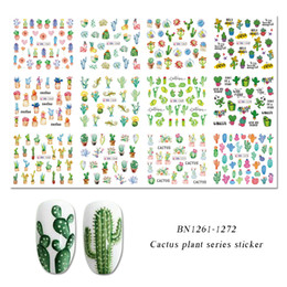 Tatuajes de hojas online-Mujeres Nail Art Decals Stickers Green Plant Leaf Watermark Flakes Slider Tattoo Nail Art Salon Wraps Decoration
