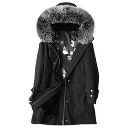 New Real Fur Coat Women Winter Fox Raccoon Fur Collar Hooded Coats Vintage Rex Rabbit Fur Liner Jacket Parka