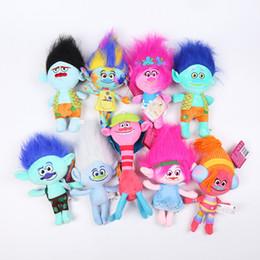 Figurine anime online-Anime Figurine Trolls Bambola Morbido Peluche Mini Figurinhas Poppy Branch Magico Fata Capelli Wizard Troll Figura Giocattoli per ragazze regalo