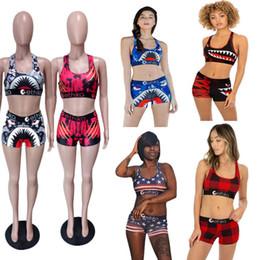 Camisolas on-line-Ethika Mulheres Swimsuit Beachwear Em Forma de I-Colete Shorts Swimwear Xadrez Natação Terno Tubarão Camuflagem Camo Swim Ternos Bikini Set 2019 A3212