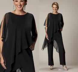 7cae5d1b707 Concepteur sexy noir pantalon en mousseline de soie costumes deux pièces  mère de robes de mariée pour les robes de soirée de mariage