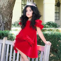 spitze gefaltetes babykleid Rabatt Mädchen Baby Goldenen Samt Kleid Kinder Schulter Exposed Lace Sleeves Kinder Kleider Prinzessin Rock Rundhals Reine Farbe 4