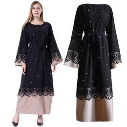 2019 ropa islámica dubai Abaya Negro Perlas de Encaje Islam Musulmán Vestido Largo Jilbab Caftan Qatar Kaftan Robe Dubai Abayas Para Mujeres Turco Ropa Islámica ropa islámica dubai baratos