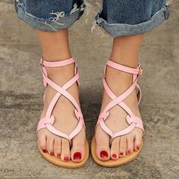 b0a1da637d979 Women Sandals Gladiator Flat Sandals Summer Ladies Shoes Beach Flats  Fashion Women Shoes Clip-toe Rome Sandalias Plus Size 35-43