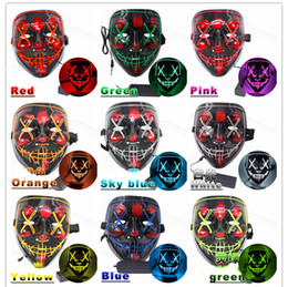 Máscaras fantasia on-line-Máscara de Halloween com luzes LED Básica e activada por voz Verstions Opcional 10 cores extravagantes máscara para Cosplay Holiday Party