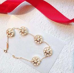 2019 kompass für armband Rose Gold Armband weiblich 925 Sterling Silber Achtzackiger Stern Fritillary Fünf-Blumen Kompass Armband Designer Rose Des Vents Schmuck 3 c rabatt kompass für armband