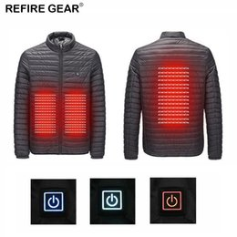 heat gear Coupons - Refire Gear Winter Outdoor USB Infrared Heating Jacket Men Women Hooded Hiking Electric Thermal Sports Climbing Hiking Coat