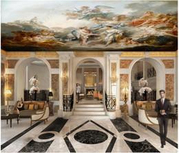 Fiabe murale online-Personalizzato Grande soffitto Zenith Mural Photo Wallpaper Heaven's Angels and Fairies Adesivi murali in stile europeo classico Zenith