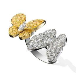 2019 quilate diamante 18k Anillos de diamantes de lujo MARIPOSA 4 colores Anillos de boda S925 Plata de ley para mujeres Pulseras de diseño con caja