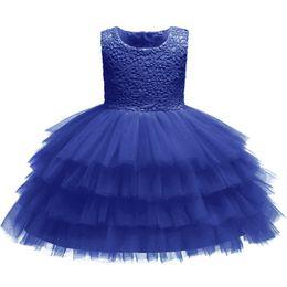 однолетние платья девочке Скидка Ребенок годовалое крещение свадьба день рождения юбилейная вечеринка цветочница кружева с бантом многослойная сетка слоеного младенческой принцессы