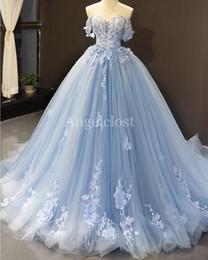 Encanto Azul Claro De Vestidos De Quinceañera 2019 Del Hombro De Barrido Tren Sin Respaldo Prom Party Encaje Apliques De Tul Largo Vestidos Para Sweet