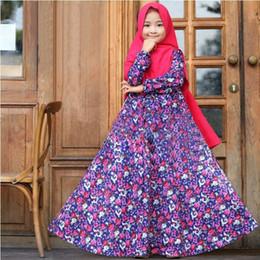 schal blumen kinder Rabatt Kleinkind Mädchen Kleid Ramadan Abaya Floral bedruckte Kaftans zurück Reißverschluss zweiteilige Set Kids Designer Kleid solide Hijab Schal Party-Outfits