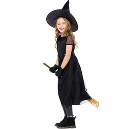 2019 trajes de conto de fadas Cosplay bruxa Bruxa pequena Preto Costume Crianças Fairytale Magician Halloween Dress Máscara Fantasia Stage trajes de conto de fadas barato