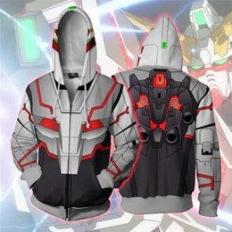 cosplay manga Coupons - Mens 3D Mobile Suit Gundam Print Hooded Shirt Japanese Manga Casual Loose Sweater Fashion Cosplay Clothing