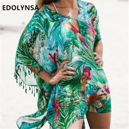 4392373c6 Green Bohemian Print Lace Up Leaf fringed Beach Tunic Sexy Half Sleeve Pool  Party Dress Plus Size Chiffon Tunic Beach Dress N523 T5190608
