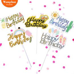 Suministros de decoración de frutas online-Sunny Rainbow Balloon Ice Cream Fruit Happy Birthday Cake Topper Summer Party Leisure Theme Cake Decoration Party Supplies