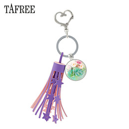 hope rings Promo Codes - Purple Tassel Heart Clasps Key Ring Holder Glass Dome Psalm Love Hope Faith Bible Verse Quote Pendant Keychain Gift LT45