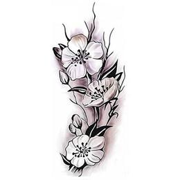 Fiori di prugna arte online-Decalcomania della sposa del partito dell'autoadesivo di arte del corpo del fiore della prugna del tatuaggio temporaneo impermeabile