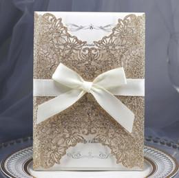 Inviti di nozze blu scuro online-Biglietti di invito di nozze taglio laser blu royal scuro economici vuoti personalizzati Stampa gratuita Scheda dell'invito di fidanzamento con busta