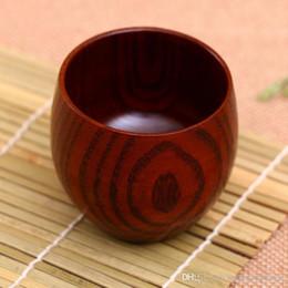 Bebendo chá verde on-line-Jujuba Madeira Beber Cup Tea Cup Handmade Natural de madeira Garrafas Chá Verde Pequeno Almoço, Leite de cerveja de café delicado canecas com TQQ Handle BH1618