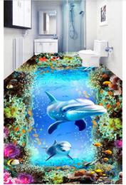 papéis de parede subaquáticos Desconto Pintura piso à prova d 'água Sonho Subaquático Mundo 3D Pisos de auto-adesão mural Adesivo de Parede home decor Personalizado foto papel de parede