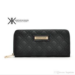 Kk кошельки онлайн-Белый черный KK кошелек длинный дизайн женщины кошельки искусственная кожа Ким Кардашян коллекция высокого класса клатч молния кошелек сумка