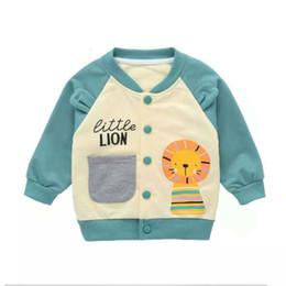 2019 giacche per bambini piccoli Autunno Inverno Bambini Baby Boy Jacket Outwear Leone Animal Baseball maniche lunghe cappotto casuale vestiti del bambino 0-5Y giacche per bambini piccoli economici