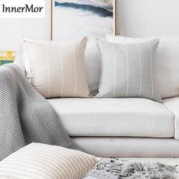 2019 fundas de almohada hechas en casa Innermor Rayas Funda de Cojín Estilo Simple Funda de Almohada decorativa Para el hogar de Lino De Imitación Para sofá cama asiento de coche 45x45 50x50 listo fundas de almohada hechas en casa baratos