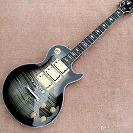 Gitarren ace online-Custom Shop Ace Frehley Budokan Signature Trans Black Flame Maple Top Electric Gitarren-Ebenholz Griffbrett 3 Pickups Lightening Bolt Inlay