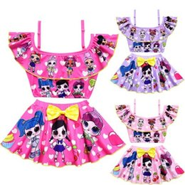477d43c598 Lol Dolls cartoon printed kids girls swimwear two-pieces bikinis summer  clothes 2019 summer 2-10yrs
