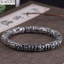 drago puro Sconti Handcrafted 100% 990 Silver Dragon braccialetto 925 del drago Bracciale Pure Silver Man Bracciale Good Luck