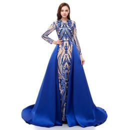 97a2f97efb Último Desmontable Overskirt Azul Vestidos de baile Peplum 2019 Lujo Arabia  Saudita Vestidos de noche formales Manga larga Patrón de encaje de  lentejuelas ...