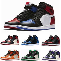 official photos 3d7bc 6d76c Beste Qualität 1s Herren Basketball Schuhe 1 Top 3 Bred Chicago OG Spiel  Royal Blue Sneakers Shattered Damen Männer Sport Trainer Größe
