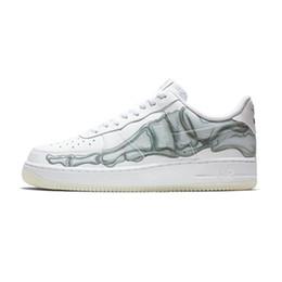 ee231c32 Force 1 Nueva Llegada de la Marca Fuerzas Luz de Noche de Halloween Bone Blanco  Zapatos para correr para Buena calidad Hombres Mujeres Moda Zapatillas de  ...